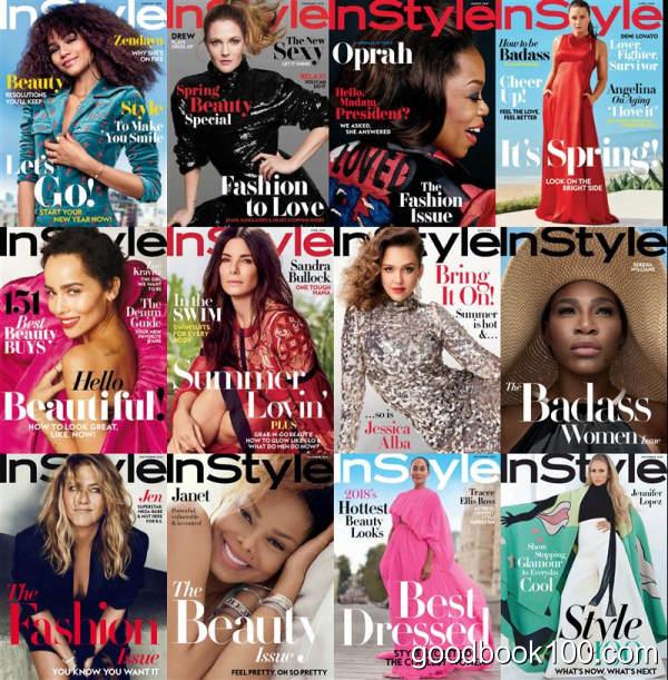 时尚杂志美国版_InStyle USA_2018年合集高清PDF杂志电子版百度盘下载 共12本 421MB