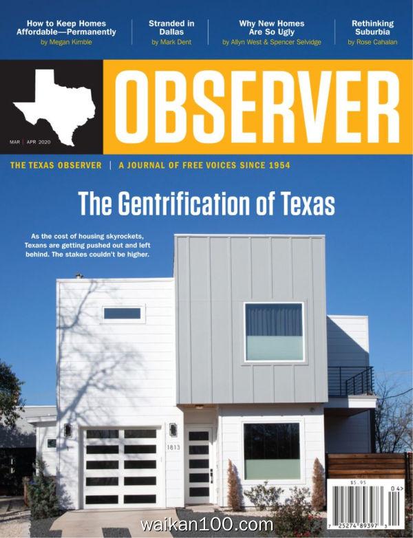 The Texas Observer 3月刊 2020年高清PDF电子杂志外刊期刊下载英文原版