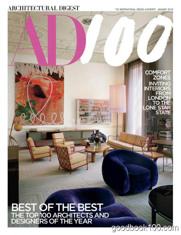 建筑文摘美国版_Architectural Digest USA_2019年合集高清PDF杂志电子版百度盘下载 共11本