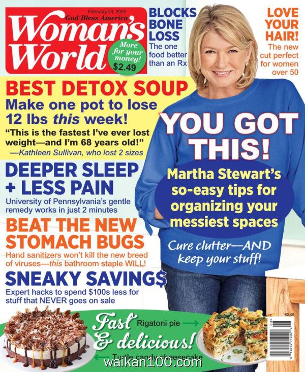 [美国版]Woman's World 2月刊 24 2020年高清PDF电子杂志外刊期刊下载英文原版
