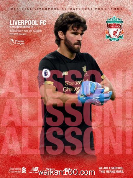 Liverpool FC Programmes Liverpool v AFC Bournemouth 7 3月刊 2020年 [35MB]